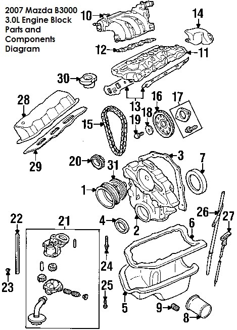 parts diagrams mazda   engine block component diagrams