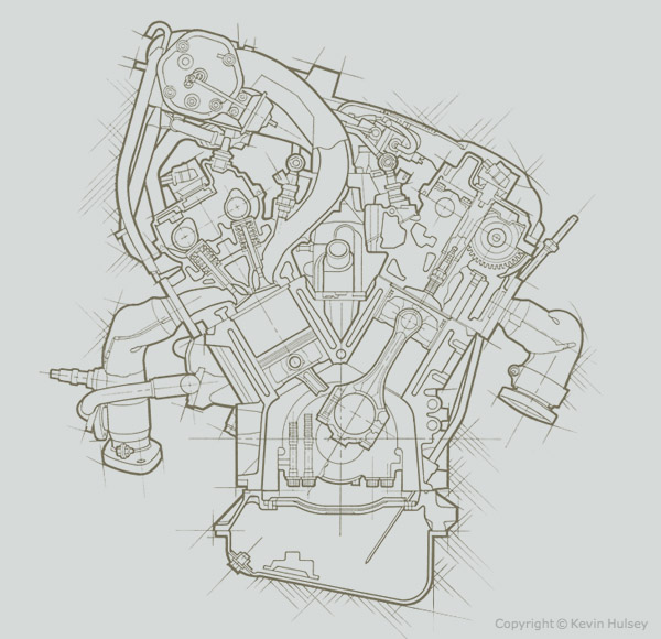 section engine line art