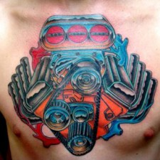 v engine tattoo chest x